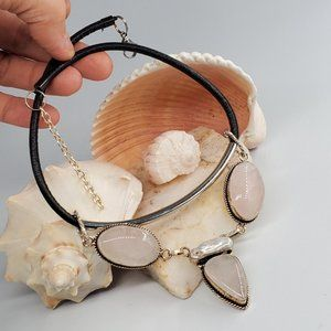 Leather/Silver Necklace Genuine Rose Stones